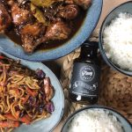Chicken Adobo, Pansit, White rice and Mini Pinoy Grill Bottle